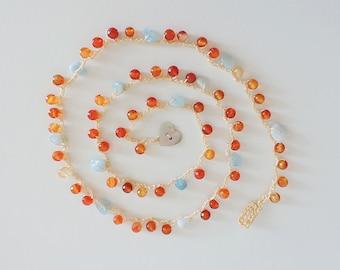 crochet gemstone necklace, carnelian gemstone necklace, beaded necklace