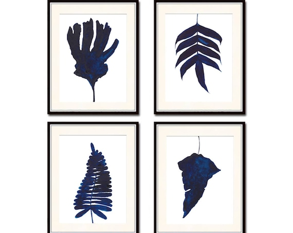 Set of 4 Navy Blue Prints , Blue Set Prints, Blue Wall Art,  Indigo Art Print, Set of 4  Prints, Leaves, Art Printable, Watercolour ,Art