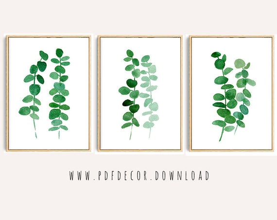 Set of 3 Tropical Prints, Set of 3 Watercolor Leaves, Set of 3 Prints, Tropical Prints, Tropical Decor, Eucalyptus Leaves, Set of 3 Leaves