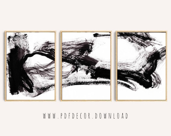 Set of 3 Black White Abstract Print , Set of 3 Prints, Abstract Wall Art, Abstract Prints, Black White Art, Minimalist Art, Modern Art, Art