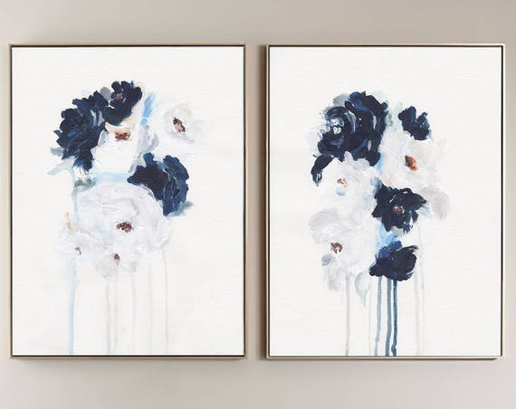 Set of 2 Wall Art, Set of 2 Prints, Blue Wall art ,Flowers, Art Prints, Set of 2, Wall Art, Modern Art, Abstract Art , White Blue Art ,Art