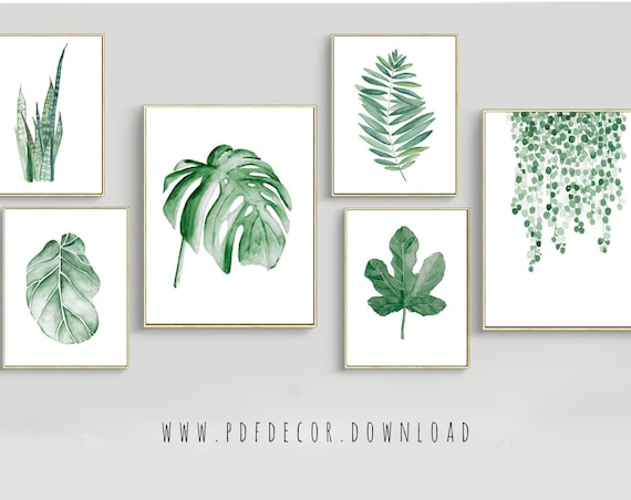 Set of 6 Leaf Prints, Set of 6 prints, Leaves Prints, Set of 6 Wall Art, Watercolor leaves, Tropical Decor, Scandinavian Decor, Art Prints