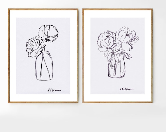 Set of 2 Black White Art, Set of 2 Wall Art, Set of 2 Black White Prints, Minimalist Prints, Minimalist Wall art, Peony Print, Digital Print