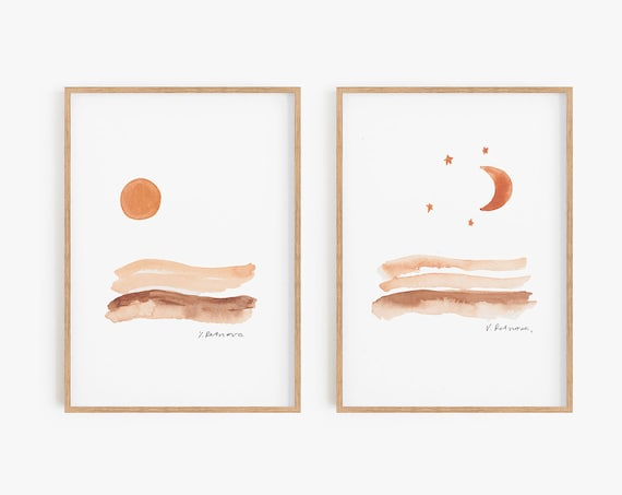 Set of 2 boho prints, Boho Decor,Boho wall art,Watercolor prints,Moon print, Sun and moon, Set of 2 prints, Set of 2 watercolor, Set of 2