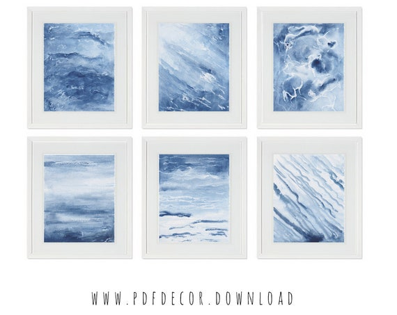 Coastal Wall Art, Coastal Print Set, Set of 6 coastal Prints, Cottage wall decor, Blue Water Print, Set of 6 Prints, set of 6 wall art, Art