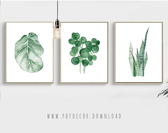 Watercolor Tropical leaf, Set of 3 Tropical prints, Leaves Print, Watercolor Leaves, Greenery, Watercolor Art, Set of 3 Prints, Wall Art