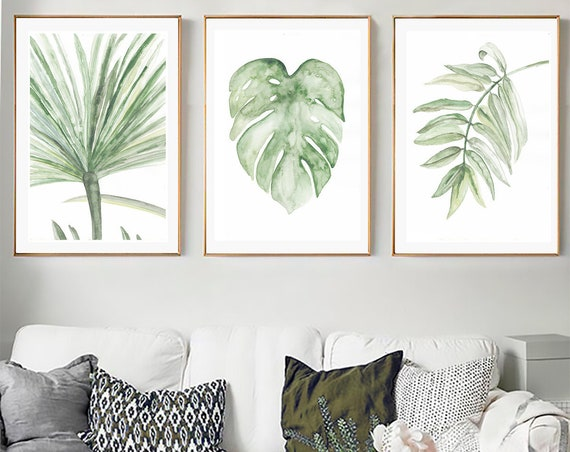 Tropical Leaves Set, Set of 3 Leaves Prints, Set of 3 Wall  Art, Tropical Print, Watercolor Leaves, Leaves print, Wall Art, Art Prints, Art