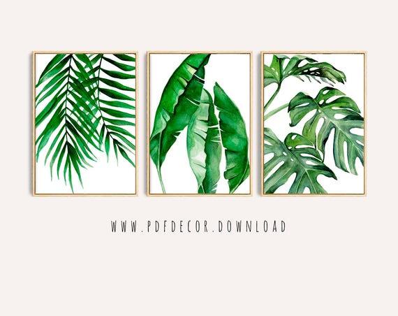 Tropical Leaves Set, Set of 3 Leaves Prints, Set of 3 Wall  Art, Tropical Print, Watercolor Leaves, Leaves print, Wall Art, Art Prints, Art