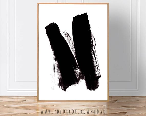 Brushstroke Art, Minimalist, Art, Black White Wall Art, Black White, Black White Home Decor, Art Poster, Art Print, Wall Art, Download Print