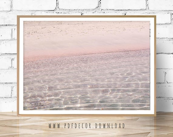 Pink Water Photography, Aerial beach, Beach Photo, Coastal Decor, Coastal Wall Art, Nautical, Pink Sands, Ocean Water, Ocean Wall Art, Print