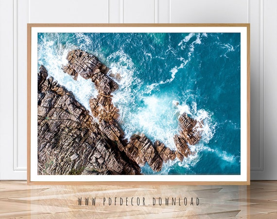 Coastal Decor, Coastal Wall Art, Water Photography, Ocean Poster, Aerial Beach, Nature Photo, Ocean Print, Landscape Print, Blue Wave, Art