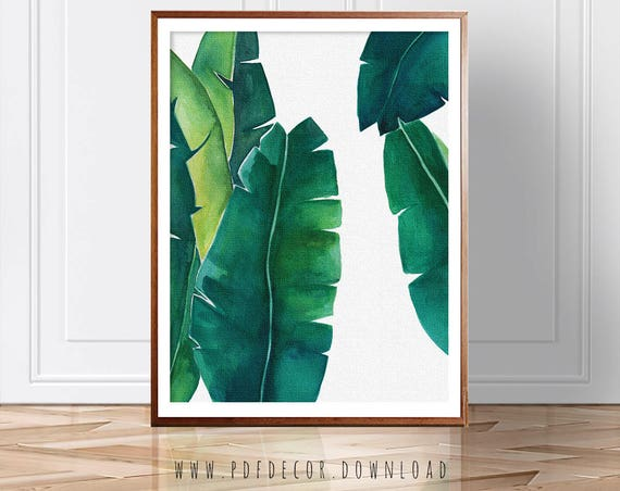 palm leaf print, banana leaf, banana leaf print, palm leaf, tropical wall art, green wall art, banana leaf poster, banana tree, palm leaf