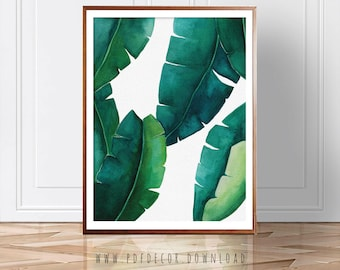 Banana Leaf print, Tropical Print, Palm Leaf, Watercolor Art, Wall Art, Banana Leaf, Green Leaves, Plant Print, Palm Print, Tropical Decor