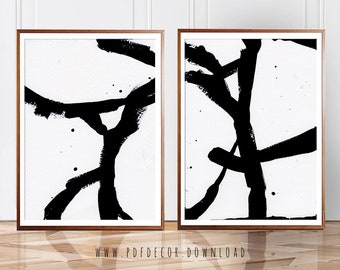 Set Of 2 Abstract Art, Set Of 2 Wall Art, Set Of 2 Prints, Abstract Prints,  Abstract Art, Black White Wall Art, Minimalist Art, Modern Art