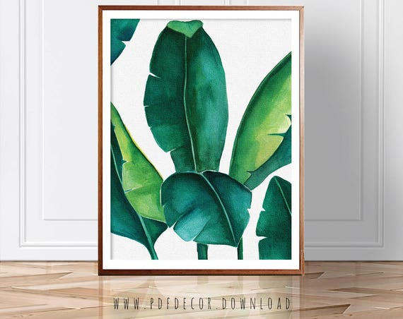 banana leaf print, banana leaf, palm leaf print, palm leaf, tropical wall art, green wall art, banana leaf poster, banana tree, palm leaf