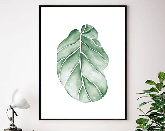 Tropical Leaves Watercolor, Tropical Print, Botanical watercolor, Watercolor Print, Green Leaf Art, Tropical leaf, Tropical Wall Art, Prints
