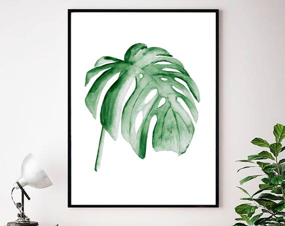 Monstera Leaf Print, Monstera Plant, Monstera Art, Tropical Leaves, Tropical Decor, Monstera Wall Art, Botanical Print, Scandinavian Decor