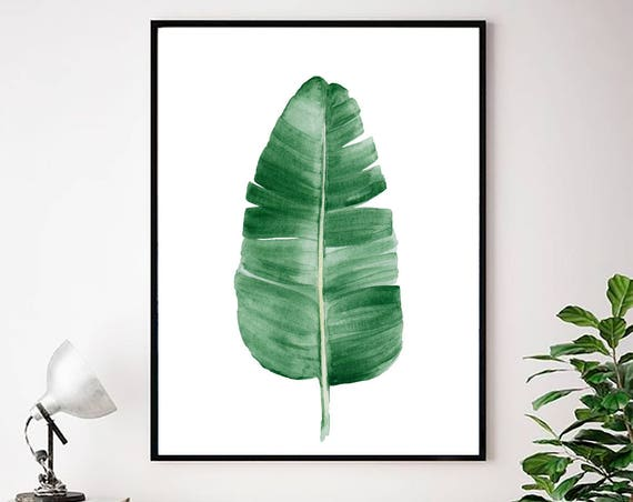 Banana leaf Print, Palm Leaf Print, Palm Leaf Wall Art, Tropical Leaf Art, Watercolor Tropical, Tropical Art, Leaves Print, Leaf Print, Art