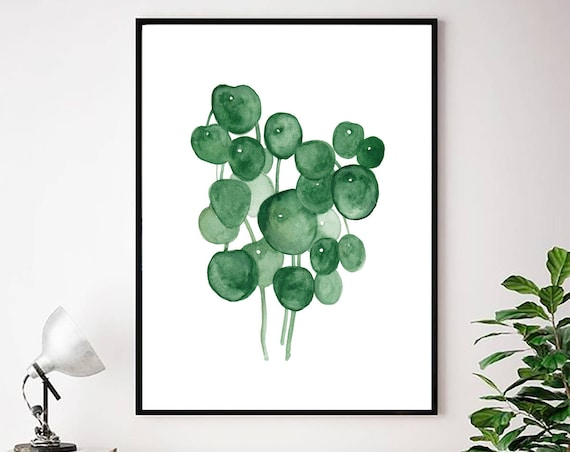 Tropical Plant Print, Tropical Wall Art, Botanical Print, Watercolor Art, Green Leaf Print, Tropical leaves, Tropical Art, Digital Download