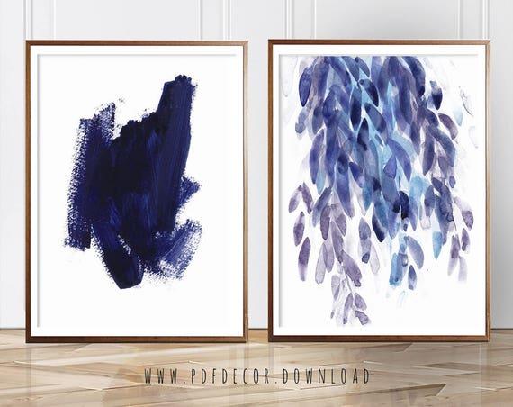 Wall Art, Art Prints, Set of 2, Set of 2 Wall Art, Blue Abstract Set, Blue Abstract Prints, Blue Decor, Blue Prints, Abstract Wall Art