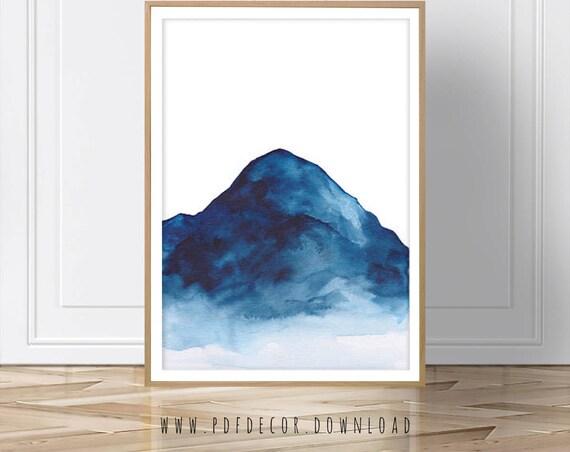 Blue Mountain Art, Mountain Wall Decal, Mountain Print, Mountain Art, Art Print, Blue Mountain, Modern Art, Landscape Art, Scandinavian, Art