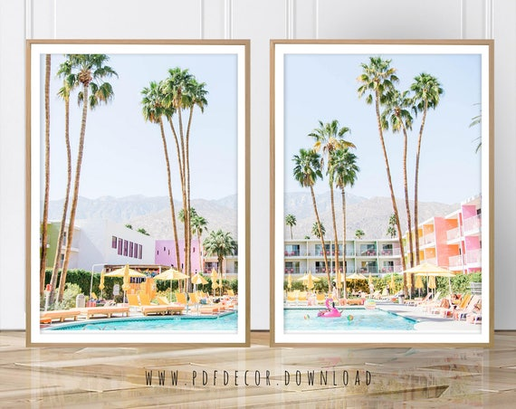Set of 2 Art, Set of 2 Prints, Palm Tree, Saguaro Hotel, Palm Springs, Palm Springs Photo, Digital Print, Art, Wall art, Prints, Tropical