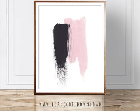 Pink Abstract Print, Abstract Art, Abstract Wall Art, Scandinavian Decor, Watercolor ,Print, Modern Art, Abstract Print, Pink Black Print
