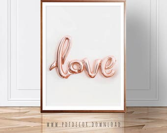 Love Print, Modern art, Love Balloon Print, Pink Decor, Home Office art, Printable art, Pink Print, wall Art, Digital Download, Art Prints