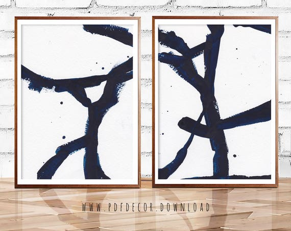 Blue Abstract Set, Set of 2 Wall Art, Set of 2 Prints,  Blue Art, Blue Abstract, Navy Blue, Indigo Print, Blue Print Set, Art, Prints, Decor