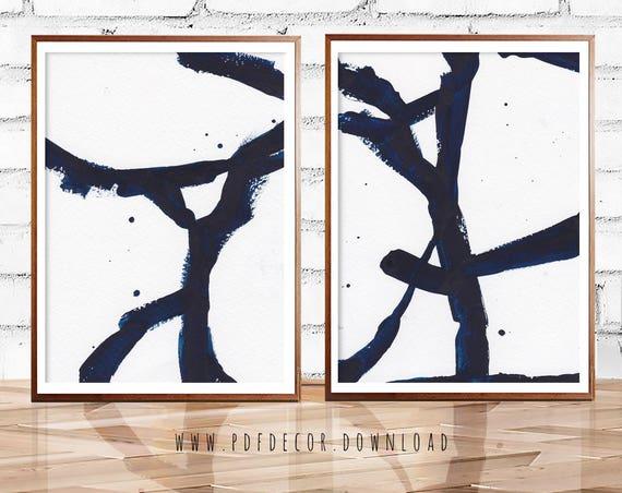 Blue Abstract Set, Set of 2 Wall Art, Set of 2 Prints,  Blue Art, Blue Abstract, Navy Blue, Indigo Print, Blue Print Set, Art, Prints, Decor