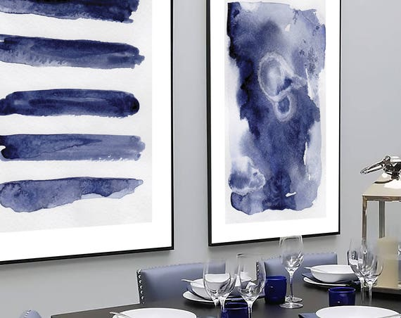 Navy Blue Wall Art Set, Set of 2 Blue Abstract, Set of 2 Prints, Set of 2 Wall Art, Set of 2 Blue Wall Art, Blue Abstract, Modern Art, Art