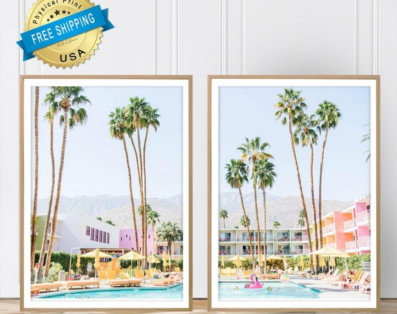 Set of 2 Large Art Prints. Saguaro Hotel, Palm Springs. Photo paper poster size prints