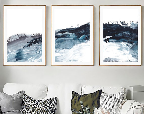 Set of 3 printable art, Blue White Set Prints, Abstract Wall Art, Set of 3 Abstract Art, Set of 3 Prints, Blue White Printable, Abstract Art