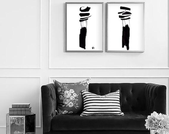 Set of 2 Abstract Prints, Set of 2 Minimalist, Set of 2 Wall Art, Black White Printable, Set of 2 Prints, Black White Print, Black White Art