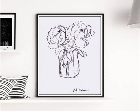 Charcoal Peony Art, Charcoal Peony Print, Graphic Art, Black White Art, Flowers Print, Graphic Print, Charcoal art, Artwork, Art, Wall Art