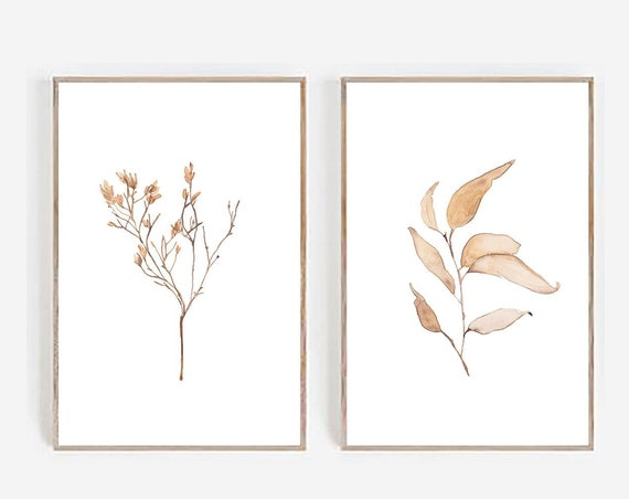 Set of 2 Prints, Farmhouse Print, Minimalist Print, Minimalist Wall art, Set of 2 Wall art, Farmhouse Decor,  Botanical Print, Set of 2 Art