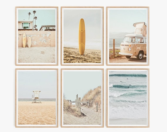 Surf Surfboard Set of 6 Prints Beach Wall Art Summer Prints Beach Poster Sunset Print Surfboard Wall Art Boho Beach Decor Coastal Print Art