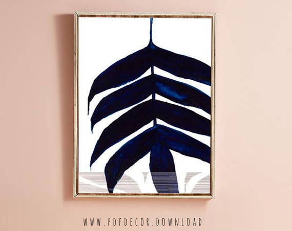 Navy Blue Leaf Art, Blue Watercolor, Navy Blue Wall Art, Abstract Print, Art, Modern Art, Painting, Navy Blue, Blue Art, Digital Download