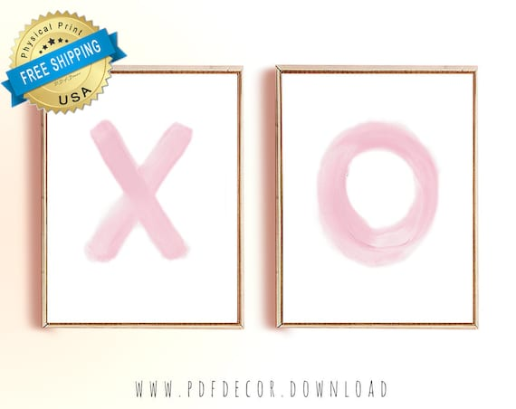 Set of 2 Pink prints, Set of 2 prints, Set of 2 Wall Art, Set of 2, Abstract Art, Minimalist Prints, Set of 2 XO Prints, XO Prints