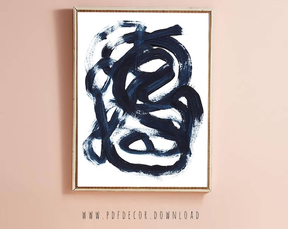 Blue Brush Stroke Art, Blue Print, Navy blue wall art, Indigo Blue, Modern Art, Large Wall Art, Instant Download, Navy Blue Decor, Wall Art