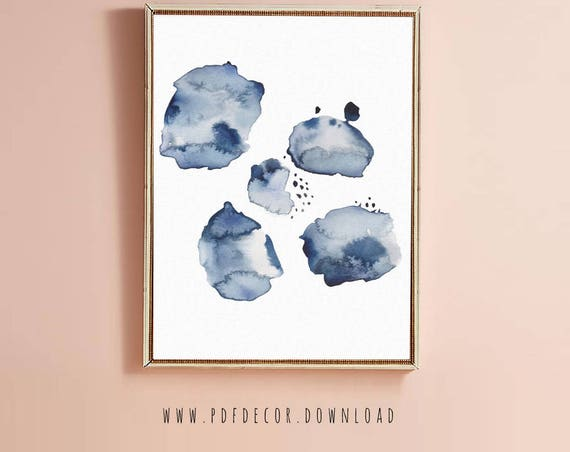 Blue Spots Modern Art Print.  Indigo Blue Abstract and  Navy Blue Art. Contemporary Art Print in Blue Palette print. Digital Art