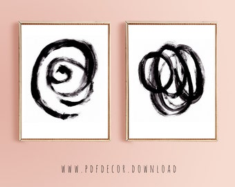 Set Of 2 Abstract Prints Wall Art Contemporary Minimalist Black White