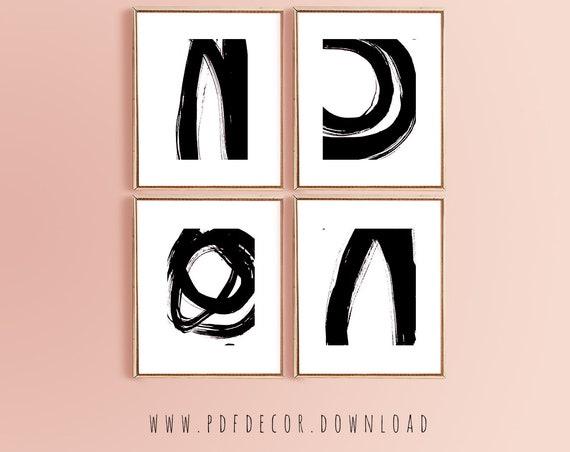Set of 4 Abstract Prints, Abstract Set Of Prints, Set of 4 Art, Set of 4 Black White Prints, Set of 4 Black White Art, Set of 4 Art, Prints