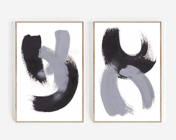 Set of 2 Abstract Prints, Set Black and White Wall art ,Large Print, Minimalist print, Abstract Print, Modern Minimalist Art, Art prints