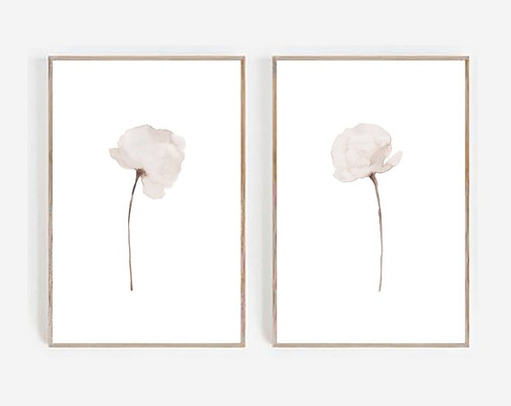 Set of 2 Printables, Minimalist White Flowers, Set of 2 Watercolor, Minimalist Prints, Abstract Flowers, Set of 2 Wall Art, Set of 2 Prints