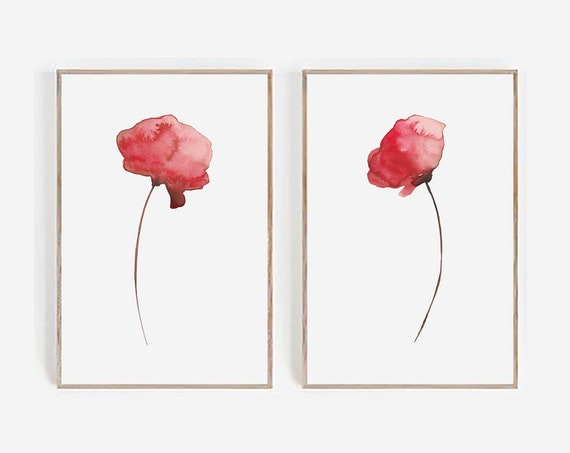 Set of 2 Printable, Set of 2 Wall Art, Watercolor Print, Minimalist Print, Flowers Print, Digital Prints, Set of 2 Prints, Red Flowers Art