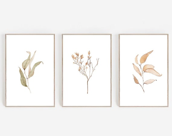 Set of 3 Prints, Farmhouse Print, Farmhouse Decor, Botanical Prints, Set of 3 Wall Art, Minimalist Print, Digital Prints, Watercolor Print