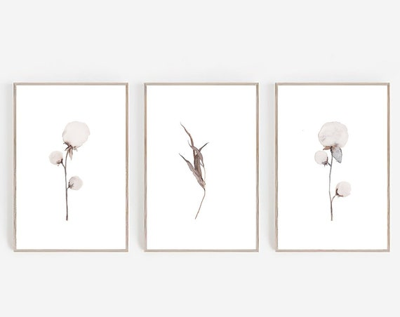 Set of 3 Prints, Farmhouse Print, Farmhouse Decor, Cotton Print, Set of 3 Wall Art, Minimalist Print, Digital Prints, Watercolor Print, Art
