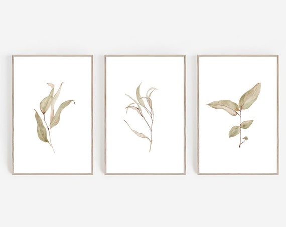 Set of 3 Leaves Prints, Farmhouse Print, Farmhouse Decor, Set of 3 Wall Art, Minimalist Print, Art Prints, Watercolor Print, Set of 3 Prints