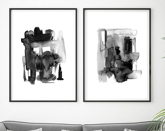 Set of 2 Abstract Prints, Set of 2 Abstract Wall Art, Contemporary Art, Minimalist Art, Set of 2 Prints, Black White Wall Art, Art Prints
